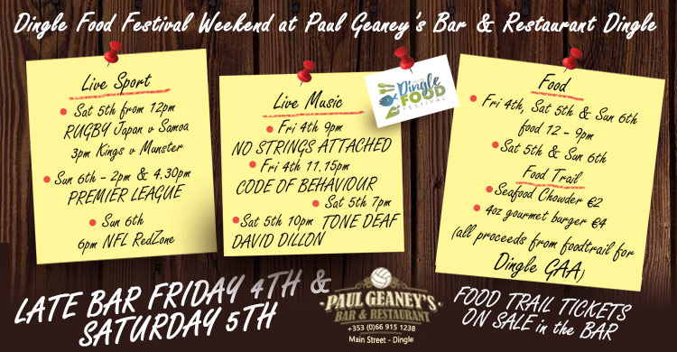 Dingle Food Festival Ad Image for Paul Geaney's Bar & Restaurant Dingle Wild Atlantic Way