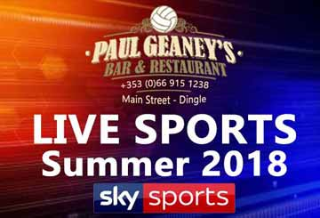 LIVE  Sport Advertisement for Paul Geaney's Bar & Restaurant Dingle Wild Atlantic Way