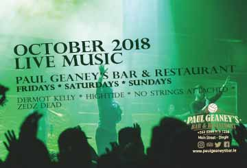 October Live Music Line up at Paul Geaney's Bar & Restaurant Dingle Wild Atlantic Way Advertisement