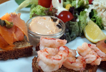 Seafood open sandwiches at Paul Geaney's Bar & Restaurant Dingle Wild Atlantic Way
