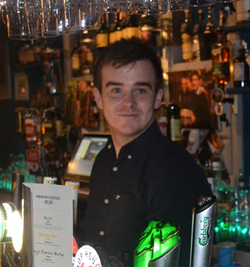 Team Picture Barman Colm at Paul Geaney's Bar & Restaurant Dingle Wild Atlantic Way.