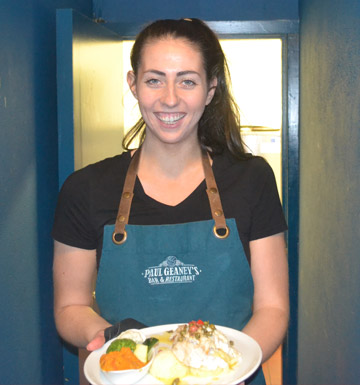 Team Picture Waitress of Deidre at Paul Geaney's Bar & Restaurant Dingle Wild Atlantic Way.